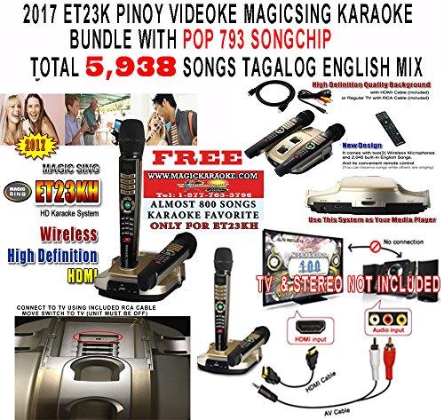 Magic Sing ET23KH 5,145 SONGS BUNDLED WITH POP793 SONG CHIP - TOTAL SONGS 5,938 SONGS TAGALOG ENGLISH SONGS - 2 Wireless Mic HDMI KARAOKE MAGICSING VIDEOKE