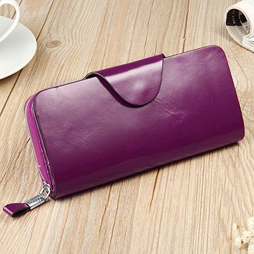 YALUXE Women's RFID Blocking Large Tri-fold Leather Wallet Ladies Luxury Zipper Clutch Fuchsia by YALUXE (Image #2)'