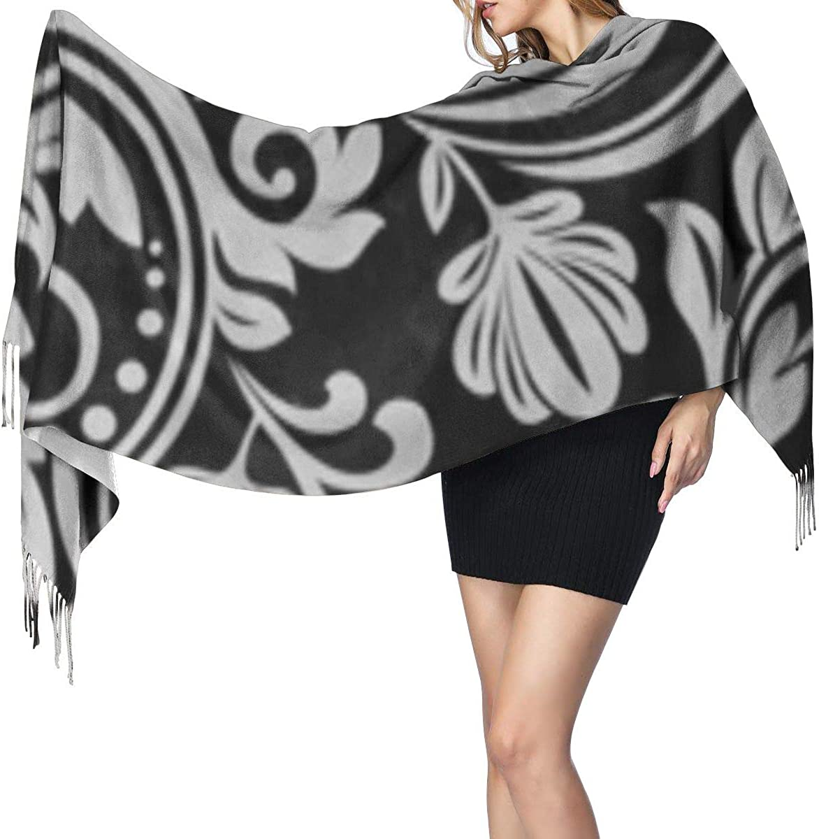 Soft Cashmere Scarf For Women Gray Floral Pattern Baroque Damask Grey And Black Graphic Modern Fashion Lady Shawls,Comfortable Warm Winter Scarfs