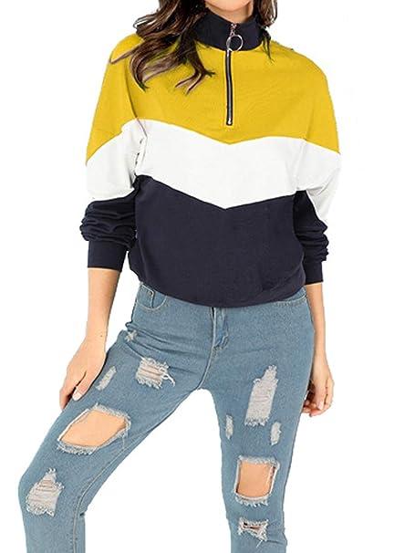 Xsayjia Sudaderas Mujer Tumblr Manga Larga Empalme Color con Cremallera Camiseta Blusa Tops
