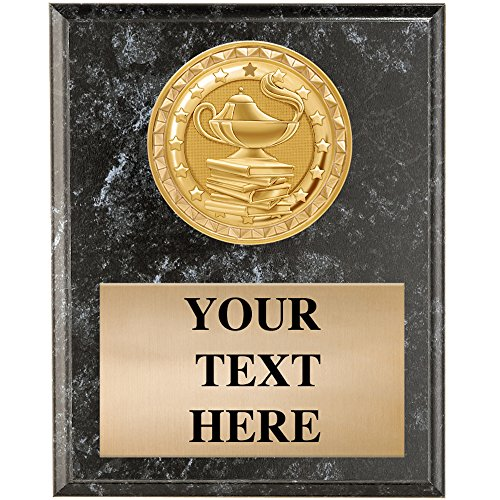 Academic Trophy Plaques - 4.5 x 6.5 Black Marble Education Plaque Award
