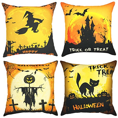 YOUR SMILE Set of 4 Halloween Cotton Linen Decorative Throw Pillow Case Cushion Covers for Sofa Home Decor 18 x 18 inch,Trick or Treat