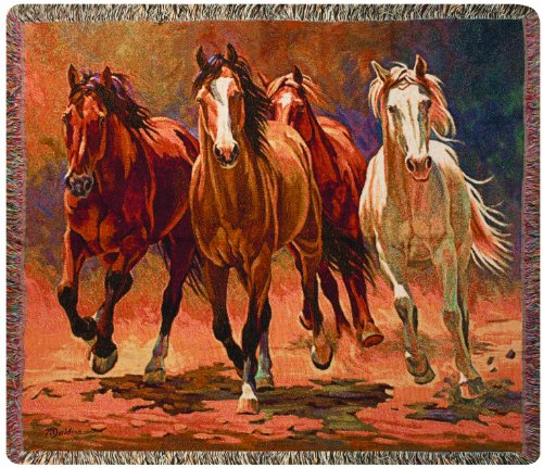Horses Tapestry Throw Blanket - 1