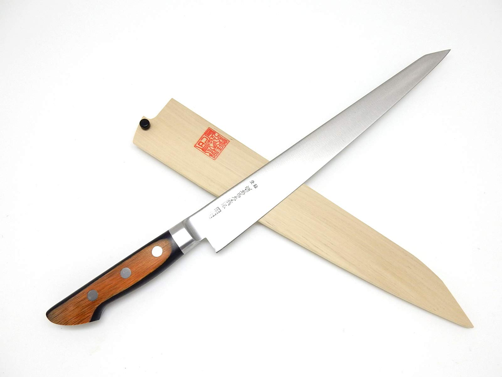 Yoshihiro Hi-Carbon Japan Steel(SK-4), HGB Series Japanese Chef's Sujihiki Slicer, with Wooden Saya Cover & Saya Pin (270mm/10.6'')