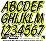 Stiffie Whipline Solid Black/Electric Lime 3'' Alpha-Numeric Registration Identification Numbers Stickers Decals for Boats & Personal Watercraft