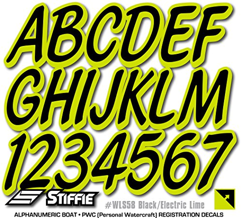 Stiffie Whipline Solid Black/Electric Lime 3'' Alpha-Numeric Registration Identification Numbers Stickers Decals for Boats & Personal Watercraft by Stiffie