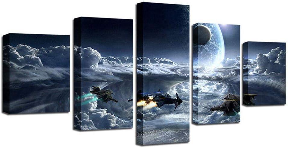 Hgjfg Cuadro Moderno En Lienzo 5 Piezas Xxl Película de Star Wars Battle Collage Hd Abstracta Pared Imágenes Modulares Sala De Estar Dormitorios Decoración Para El Hogar 150X80Cm