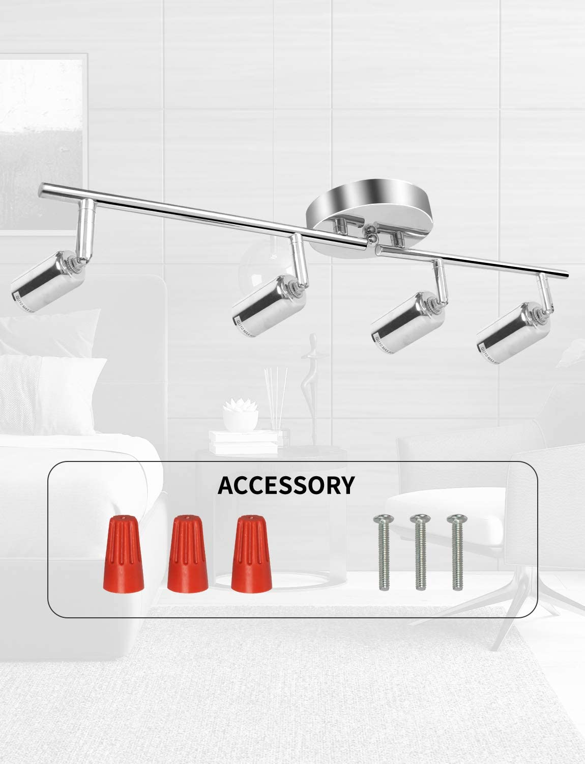 4 LED Track Lighting Kit Worktop Flexible Adjustable Folded Arms and Heads Modern Chrome Finishing Track Light Fixtures for Kitchen Hallway Bedroom GU10 Base Bulb Not Included