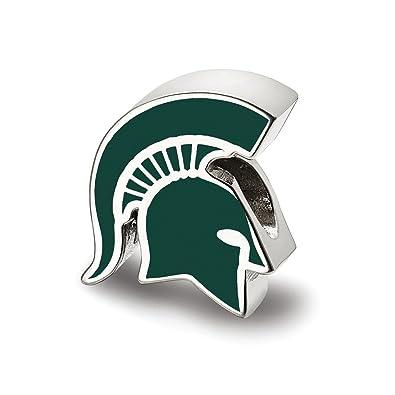 Amazon com: Sterling Silver LogoArt Michigan State U Spartan