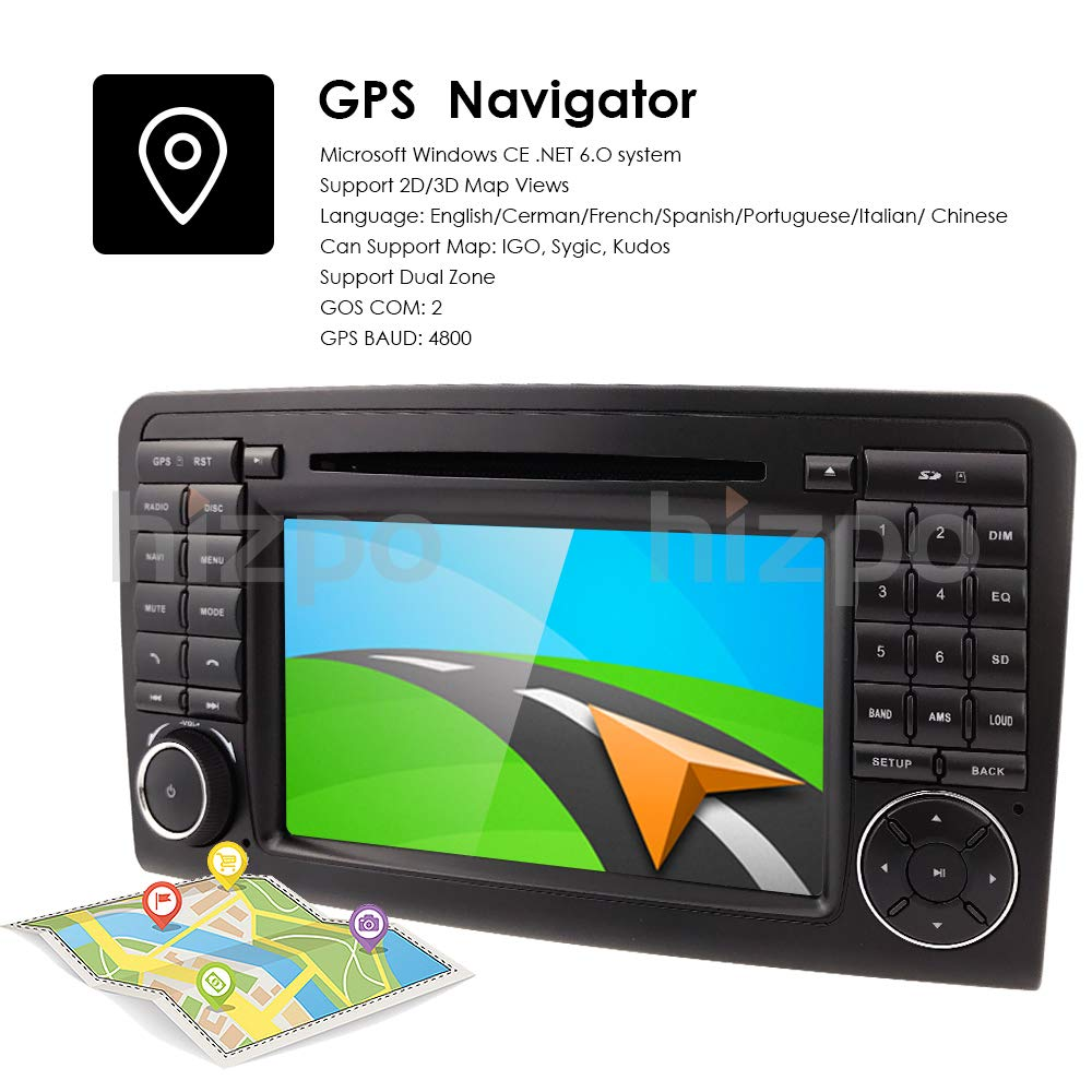 Amazon.com: hizpo Car GPS Navigation in Dash Double 2 Din Radio for Mercedes Benz ML Class W164 2005-2012 & ML300 & ML350 & ML450 & ML500 DVD Player GPS ...