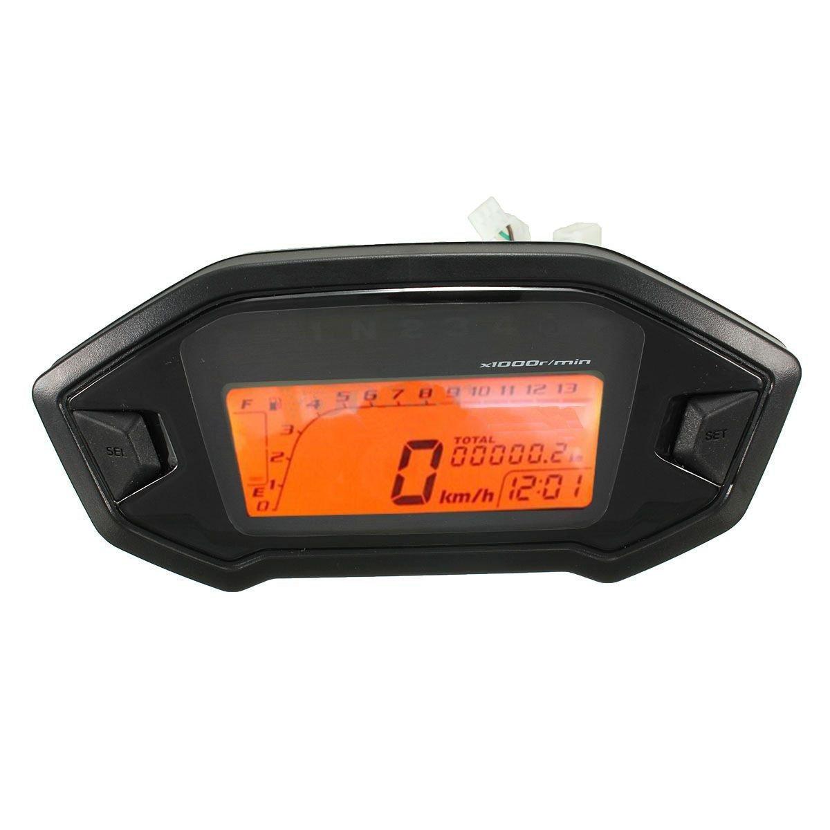 Odometro LCD - SODIAL(R)Oodometro velocimetro velocimetro calibrador universal de retroiluminacion LCD digital de motocicleta 060667