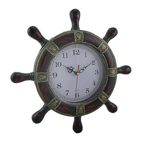 Plastic Wall Clocks Striped Fleur De Lis Ships Wheel Wall Clock 13.5 X 13.5  X 1