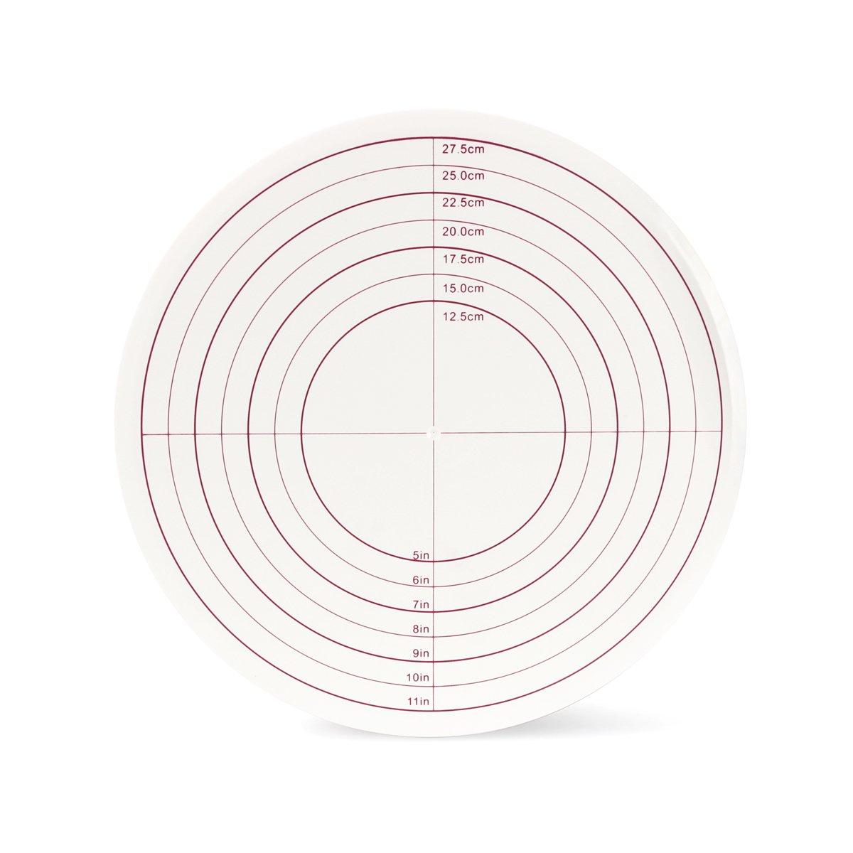 SveBake Tortenplatte Zuckerguss Mustern /Ø 30,5cm Tortenst/änder mit Lock Schalter und Skalenmarke Tortenst/änder drehbar f/ür Backen Geb/äck