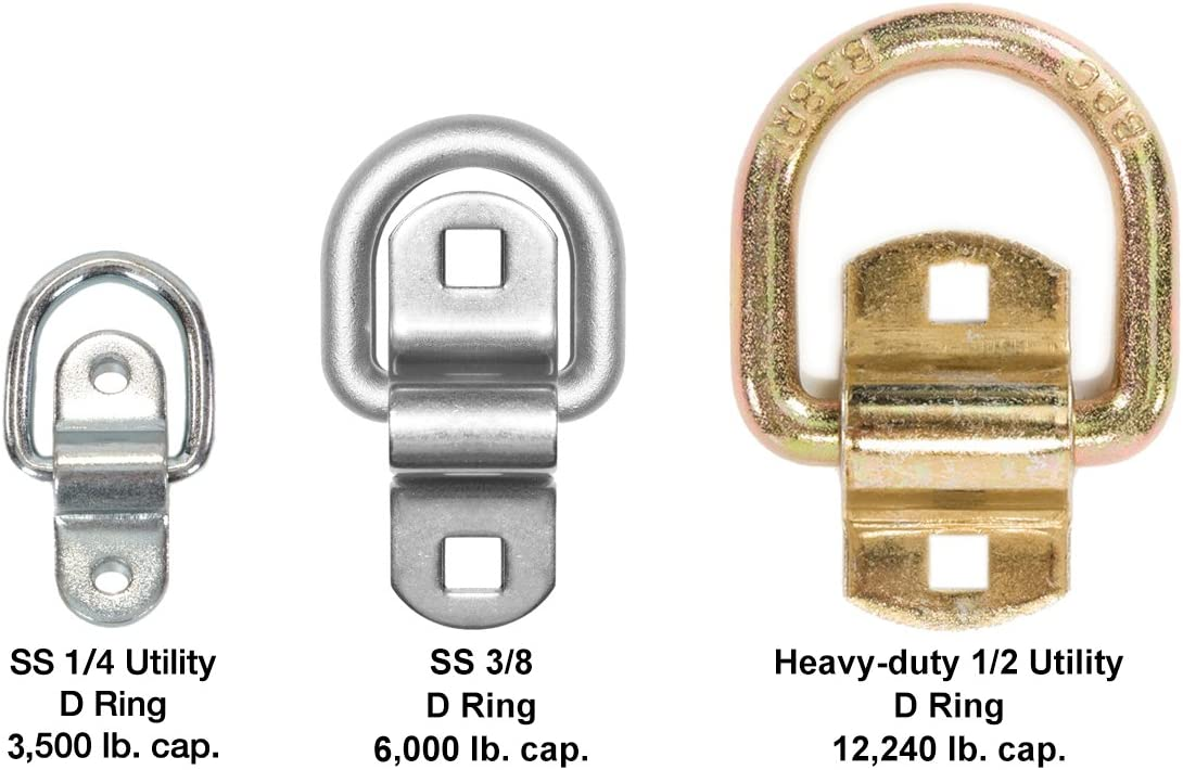 4 Pack Cap Mackie Ent Inc Stainless Steel D-Ring Tiedowns 3,500 lb Tie Down Anchors