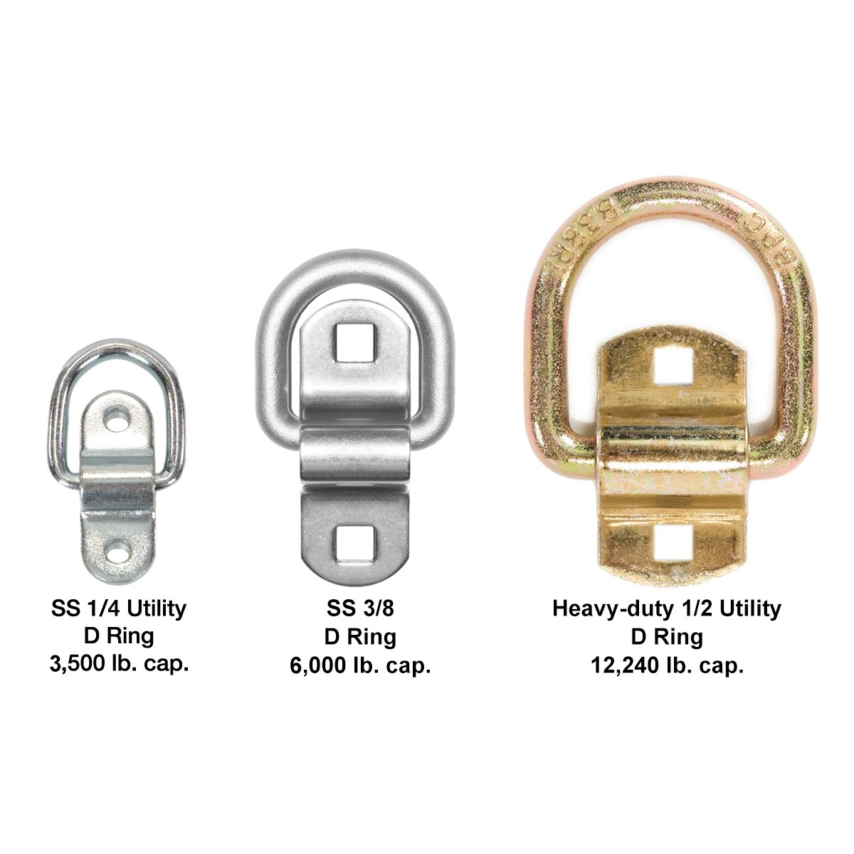 Stainless Steel Tie Down, Surface Mount D-Ring 6,000 lb. Capacity Tiedowns 8-Pack by Sierra Pacific Engineering (Image #3)