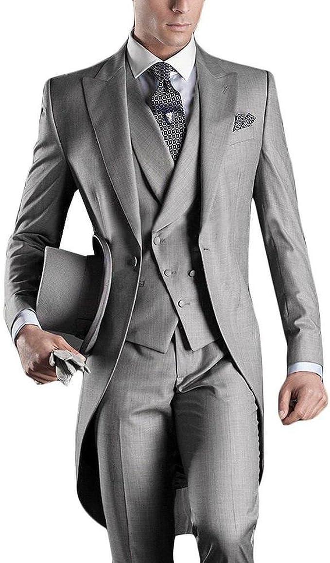 2 Pieces Men's Slim Wedding Suits Formal Business Grey Coat