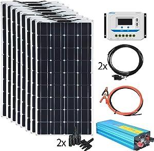 XINPUGUANG 800w 24V Solar System Kit 100w Flexible Solar Panels Monocrystalline Cell Module 2000w 110v Inverter ,12v/24v 45A Controller Off Grid Solar Battery Charge for RV,Cabin,Tent,Boat (800W)
