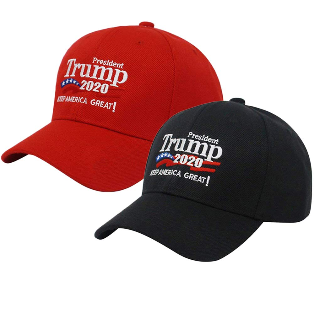 Keep America Great Baseball Cap Donald Trump Hat 2020 Red And Black Two Packs
