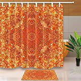 CdHBH Orange Wallpaper Lover Vector Flower Pattern 71X71in Mildew Resistant Polyester Fabric Shower Curtain Suit With 15.7x23.6in Flannel Non-Slip Floor Mat Bath Rugs Orange