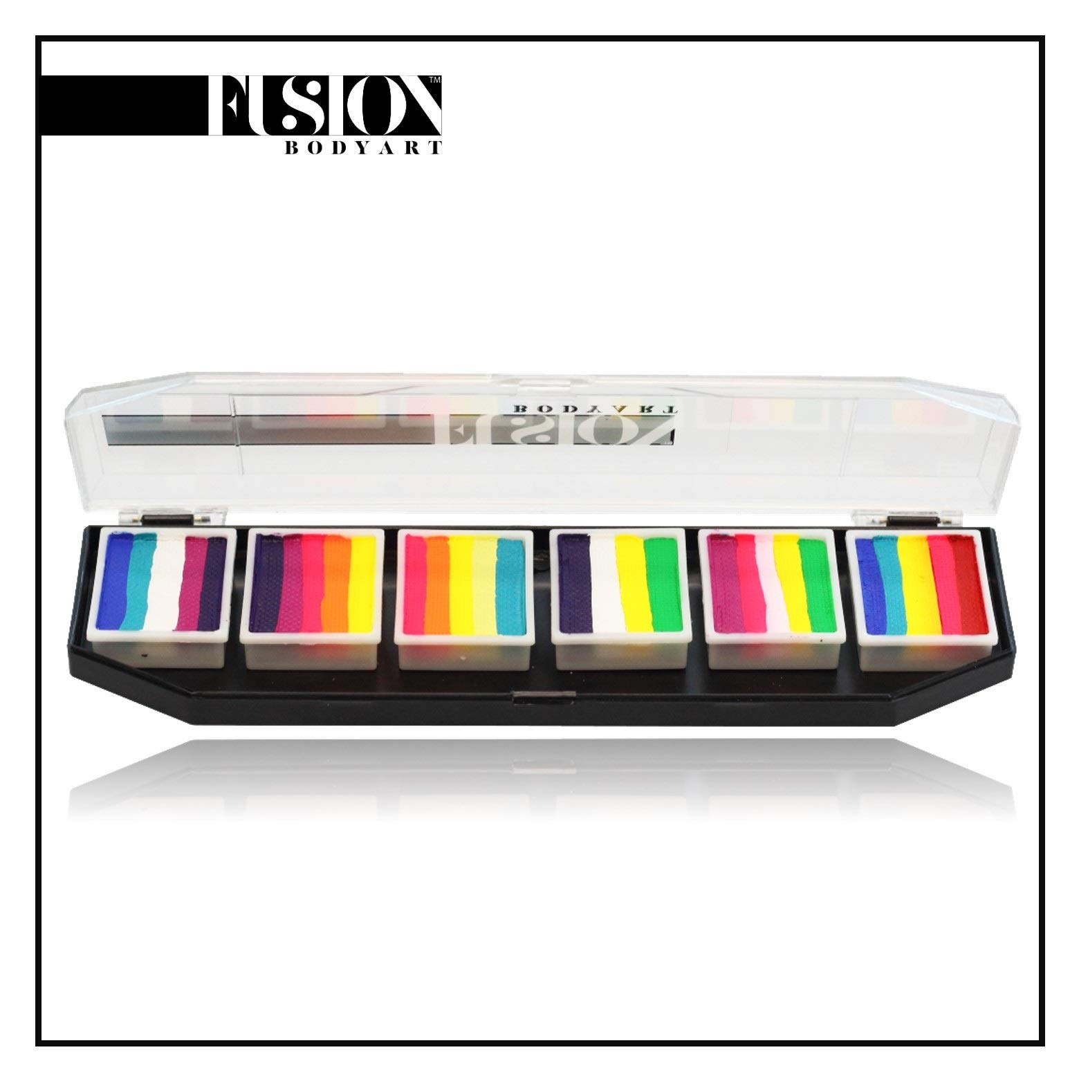 FUSION BODY ART Pro Quality Professional Spectrum Face Painting Palette - Tropical Collection | Hypoallergenic Safe & Non-Toxic | Perfect for Full Face Designs and Cheek Art by FUSION BODY ART