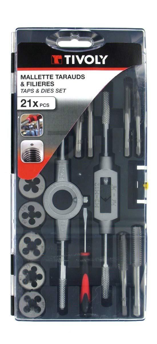 1 Porta-cojinetes TIVOLY 11900970014 1 destornillador 2 Porta-machos 1 juego de galgas Estuche MTF39 Standard 19 Machos M3 a M12 17 Cojinetes M3a M12
