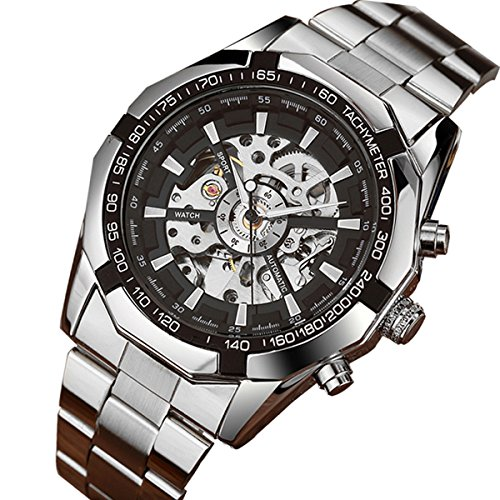 GuTe Classic Skeleton Mechanical Wristwatch Automatic Steel Watch Silver Black X Dial (Chrome Plated Skeleton)