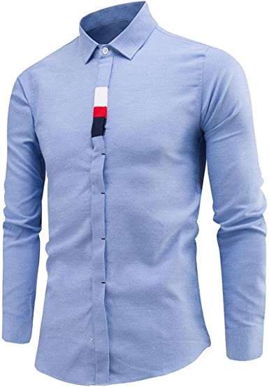 Culater® Camisas Manga Larga Hombre, Formales Moda Fashion Slim Fit Shirts (XS, Azul): Amazon.es: Ropa y accesorios
