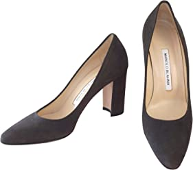 Manolo Blahnik Womens Gray Tucciototo Suede 90mm Pumps Heels