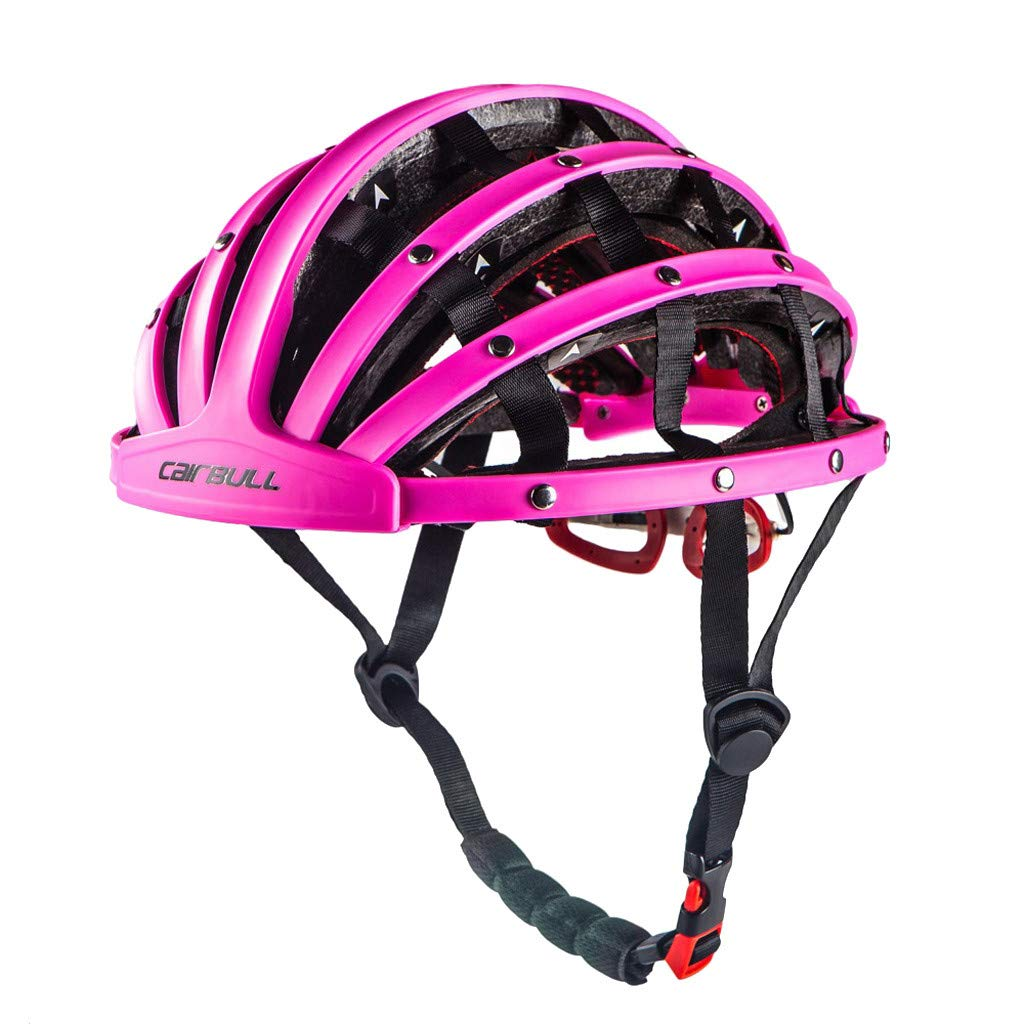 Flurries  Folding Bicycle Cycling Helmet - Road Bike Collapsible Foldable Portable Helmet - Adjustable for Adult Men Women Sports Safety Protective Equipment Lightweight Removable (Pink) by Flurries