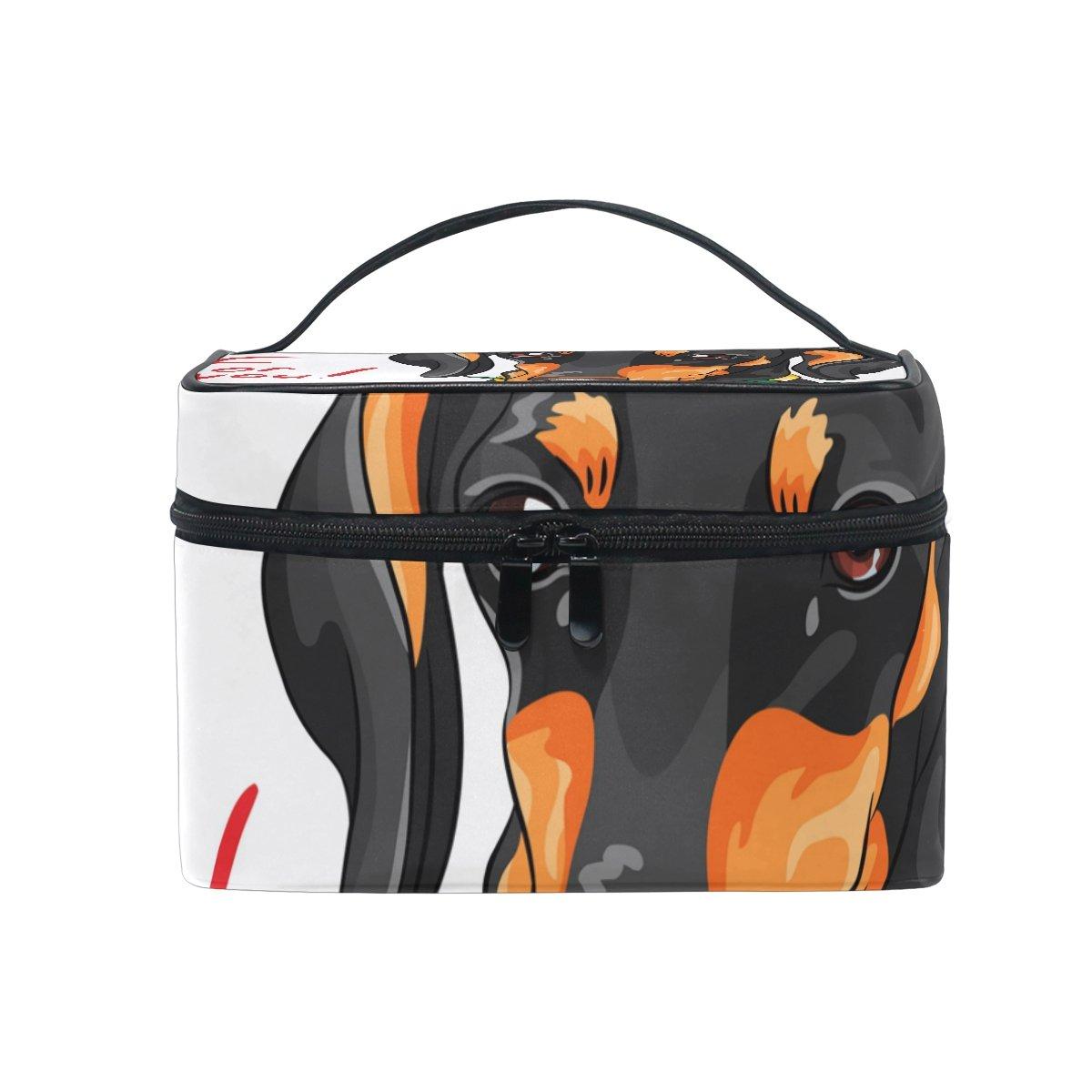 COOSUN Cane bassotto con Rosa rossa Cosmetic Bag Canvas Viaggi toilette Bag maniglia superiore solo strato di trucco dell'organizzatore del sacchetto del multi-funzione per caso cosmetico Grande Mul
