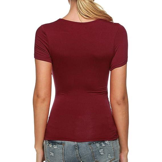 Camiseta de Mujer Manga Corta Cruzada con Cuello en V Blusa ...