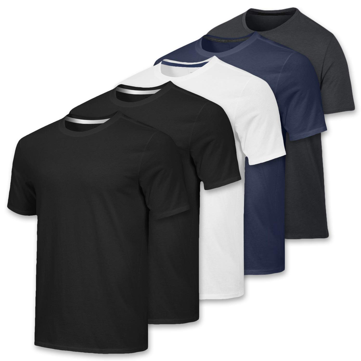 65fa3538875 5 Pack: Men's Dry-Fit Moisture Wicking Active Athletic Performance Crew  T-Shirt