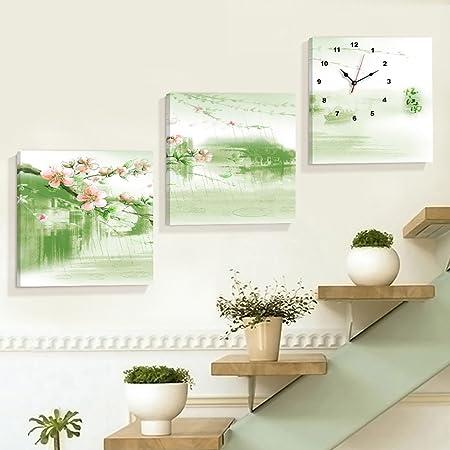 SESO UK Decorative Background Creative Art Painting Wall Clock Horizontal Version Of The Triple