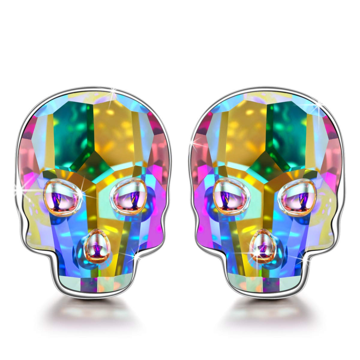 NINASUN Halloween Gifts Earrings for Girls Teens Kids 925 Sterling Silver Skull Head Stud Earrings for Her Aurora Swarovski Crystal Fine Jewelry for Women Halloween Gifts Idea for Sister Best Friends