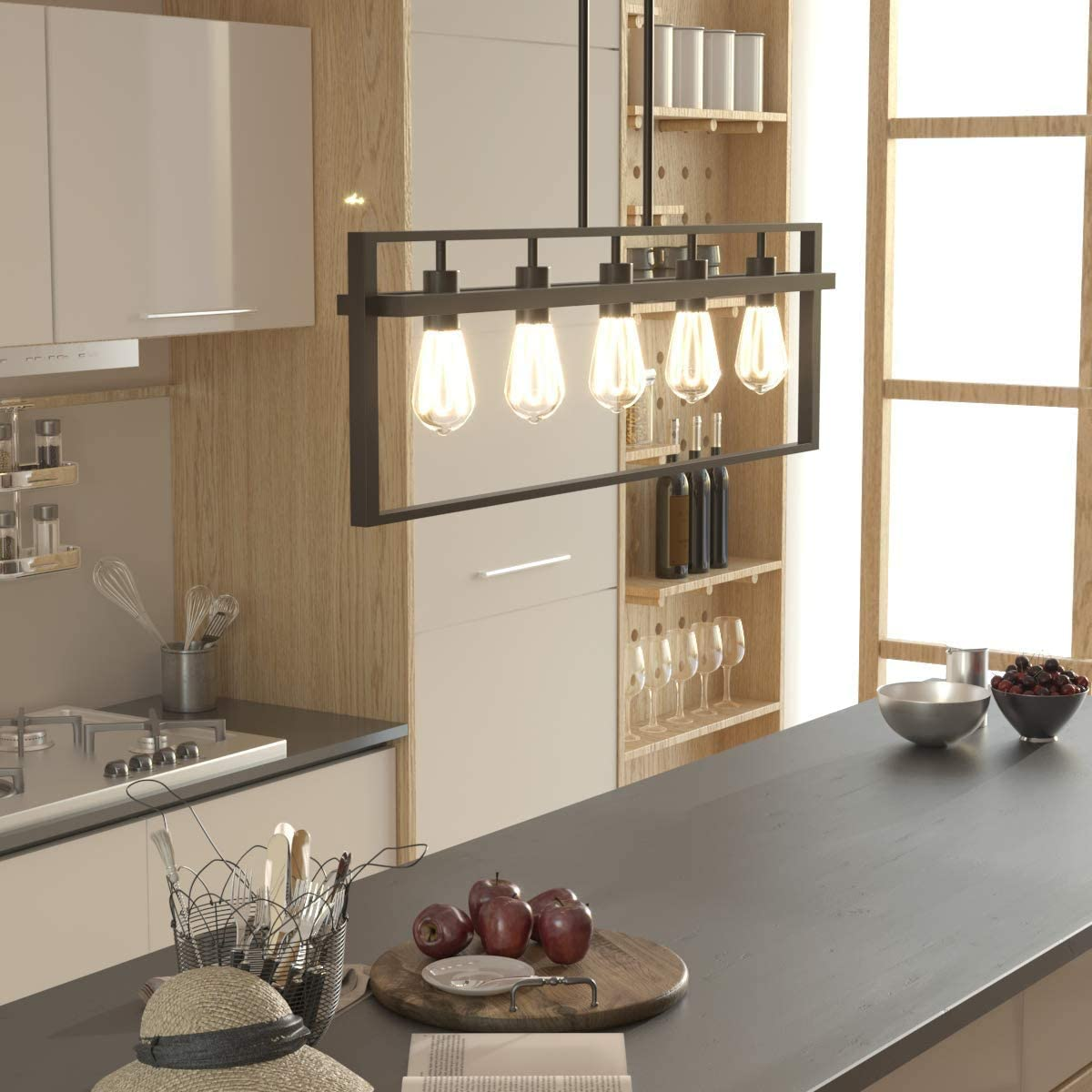 Tangkula 5-Light Island Lighting, Modern Style Domestic Linear Pendant Light Fixture, for Kitchen Dining Room Hallway, Pendant Lamps, Dark Brown Finish