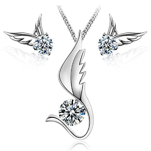 8cf59047f Angel Wings Set White Crystals from Swarovski Pendant Necklace 18