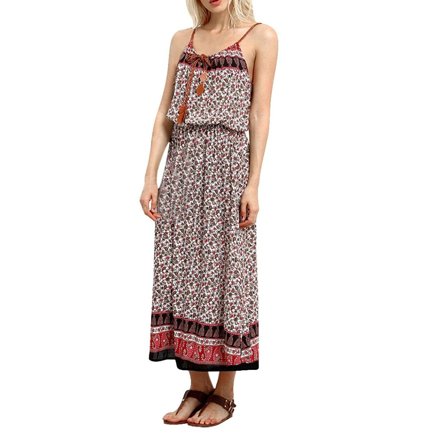 Besde Women Ladies Summer Boho Long Dress Beach Dress Sundress