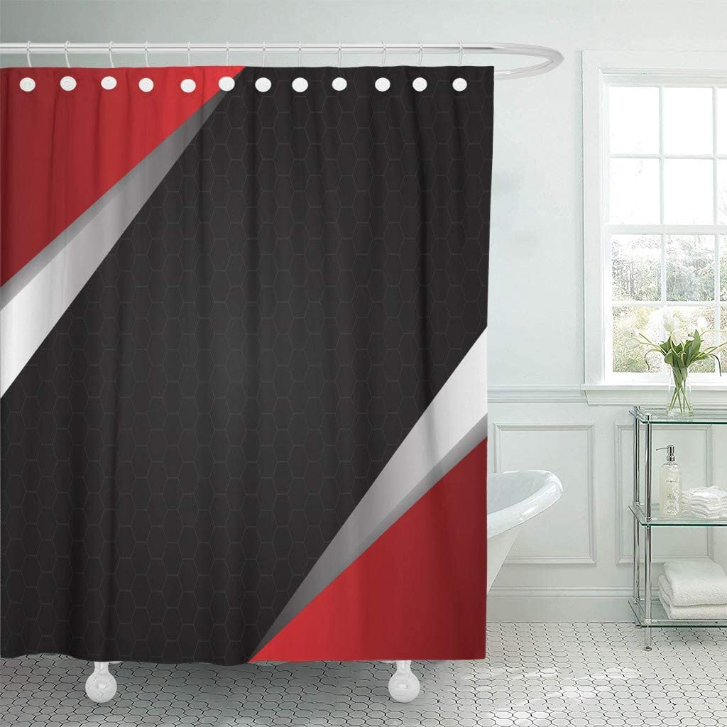"""Emvency Waterproof Fabric Shower Curtain Hooks Gray Geometric Abstract Red Metal on Hexagon Mesh Black Silver Cage Color 60""""X72"""" Bathroom Odorless Eco Friendly"""
