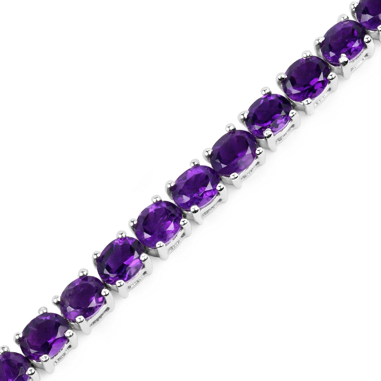 12.24 Carat Genuine Amethyst .925 Sterling Silver Bracelet