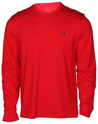 51a442d49 Image Unavailable. Image not available for. Color  Polo Ralph Lauren Men s  Long Sleeve Crew Neck Pony Tee-Red-Large
