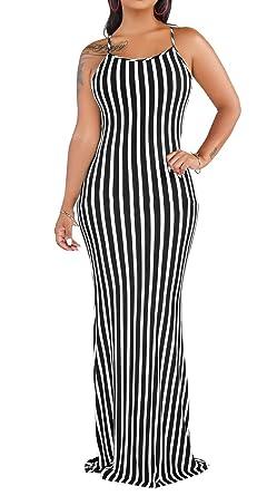 77e959431172 Women Casual Slim Sexy Stripe Spaghetti Strap Long Maxi Summer Beach  Sleeveless Split Dress Black