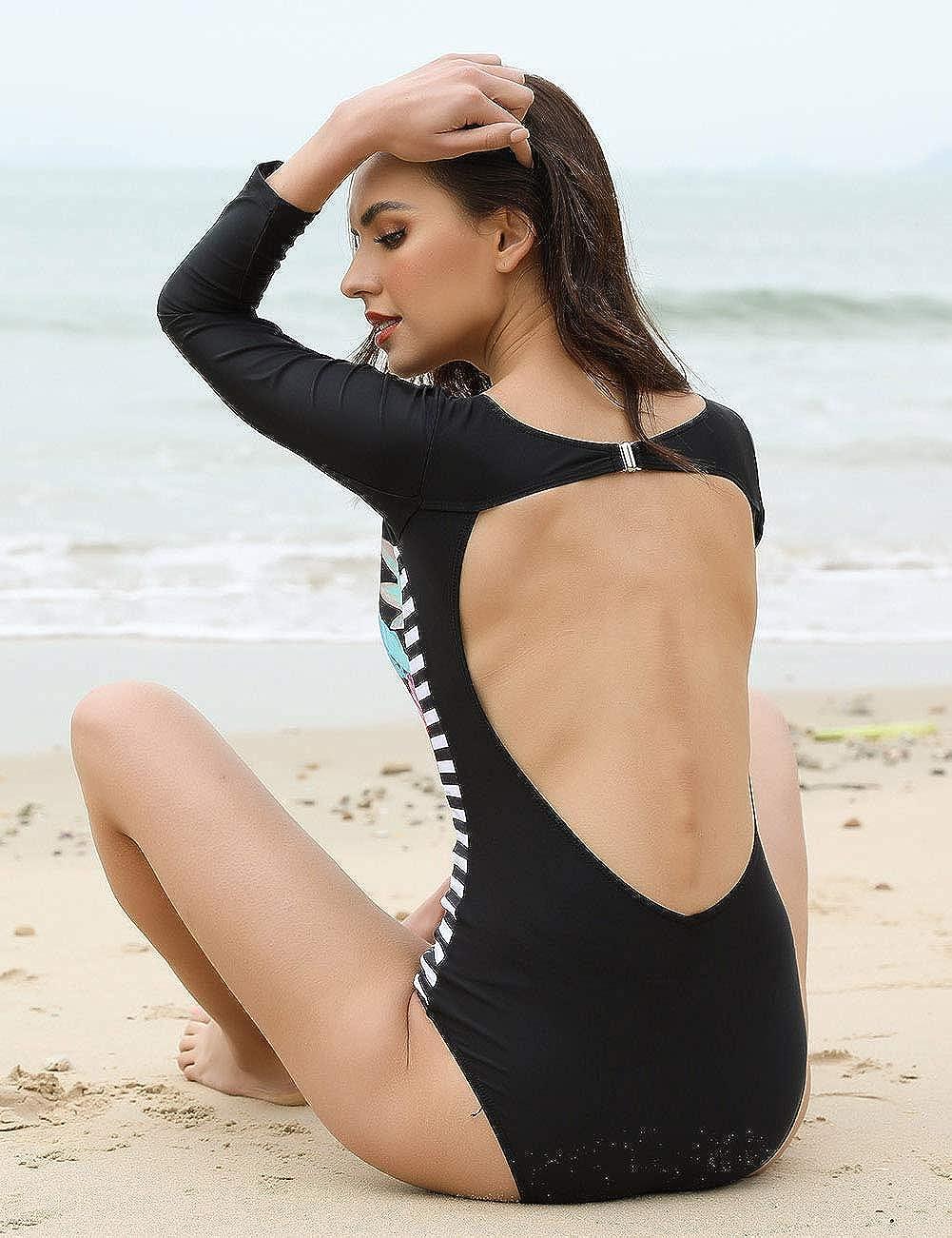 JOYMODE Womens Rashguard Swimsuit Print Surfing Bathing Suits Long Sleeve Swimwear Size M-5XL