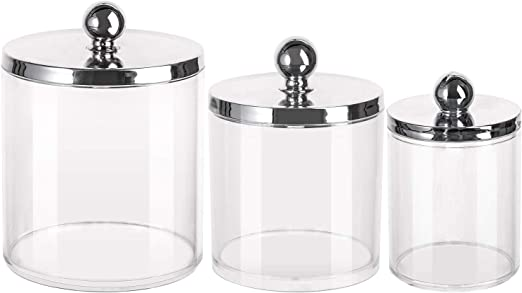Tbestmax 10/20/36 Oz Cotton Swab/Ball/Pad Holder, Qtip Apothecary Jar Clear Bathroom Containers Dispenser Sliver Lids for Storage 3 Set