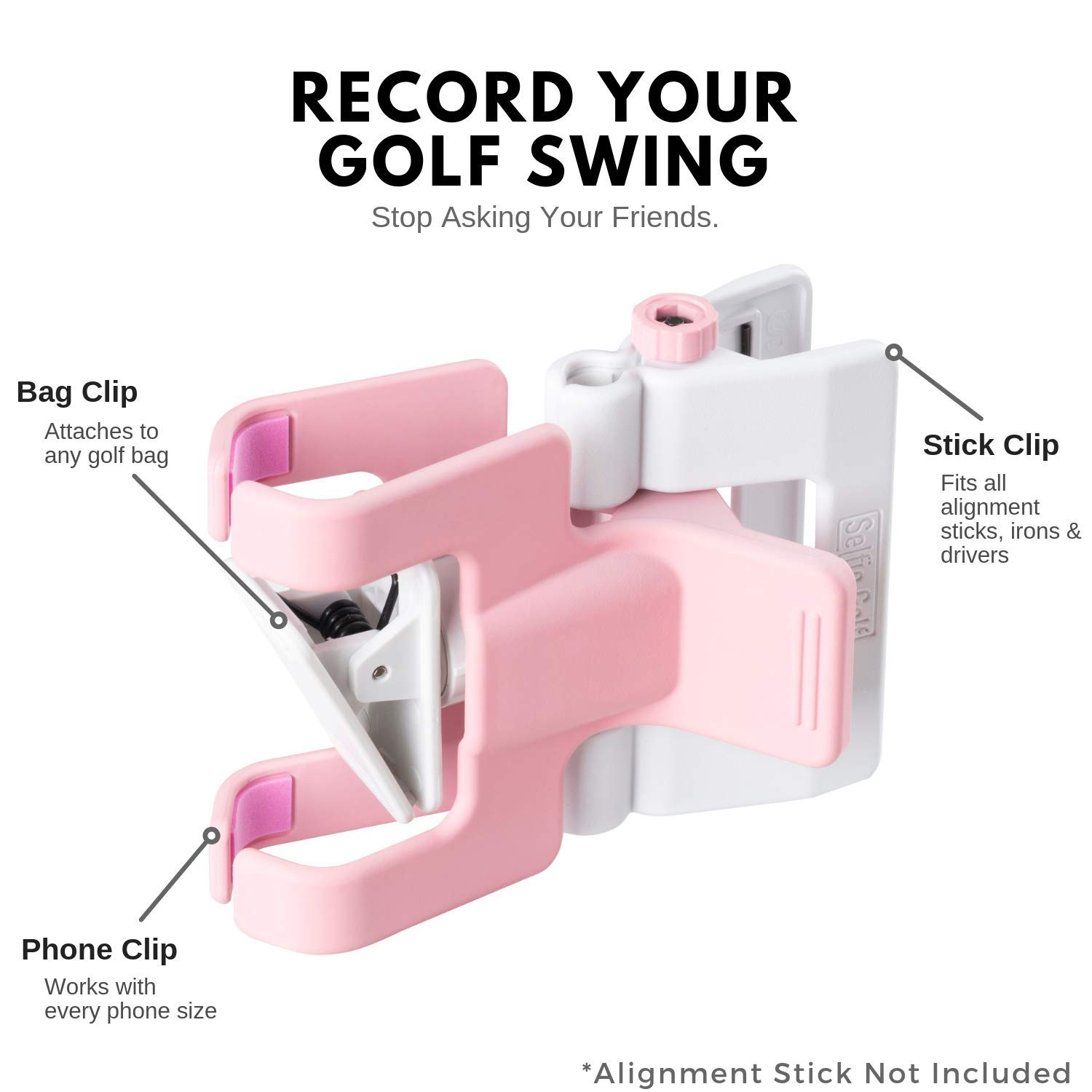 SelfieGolf Record Golf Swing - Cell Phone Clip Holder and Training Aid - Golf Accessories   Winner of The PGA Best Product   Works with Any Smart Phone, Quick Set Up (Pink/White) by Selfie Golf (Image #3)
