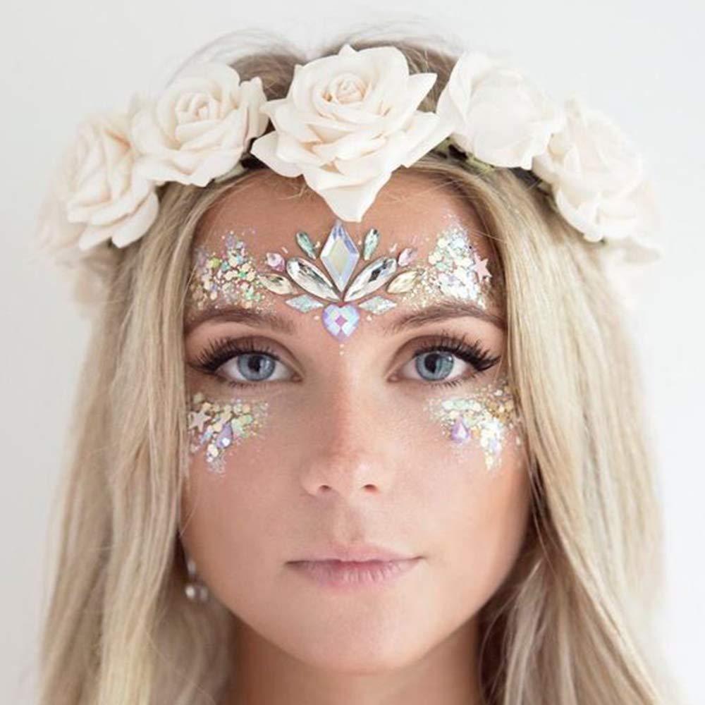 YMHPRIDE Gesicht Edelsteine 10 st/ücke Gesicht Glitter Festival tempor/äre t/ätowierung Frauen Gesicht juwelen Bunte kristall Strass augenbraue k/örper Aufkleber f/ür