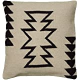 Rizzy Home T05815 Woven Southwestern Patten Decorative Pillow, 18 by 18-Inch, Ivory