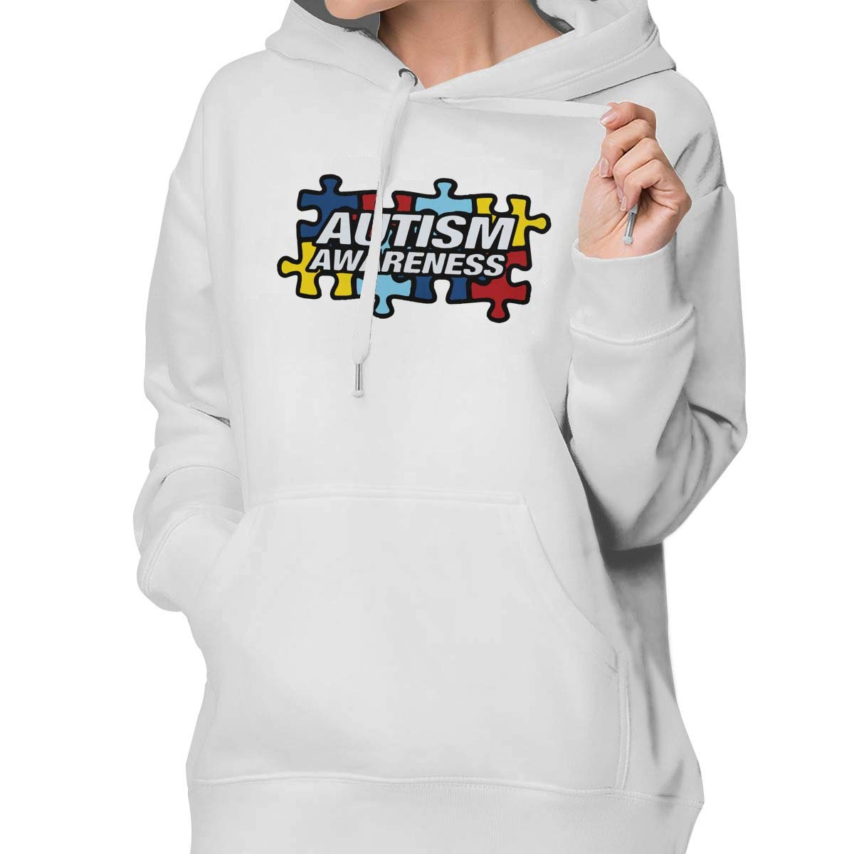 MIKGI Autism Awareness Women Casual Sweater Pullover Knit Soft Warm Thick Crewneck Long Sleeve Hoodie
