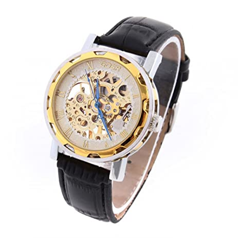Relojes de marca Hand Wind Mens Mechanical Watches Stainless Steel Skeleton Watch Leather Strap New Hot