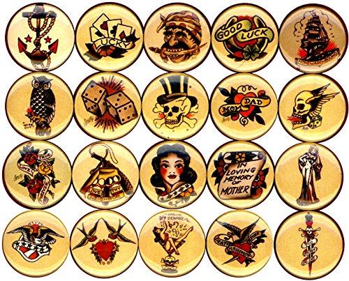 Panic Buttons Flash tattoo art pin set of 20 1