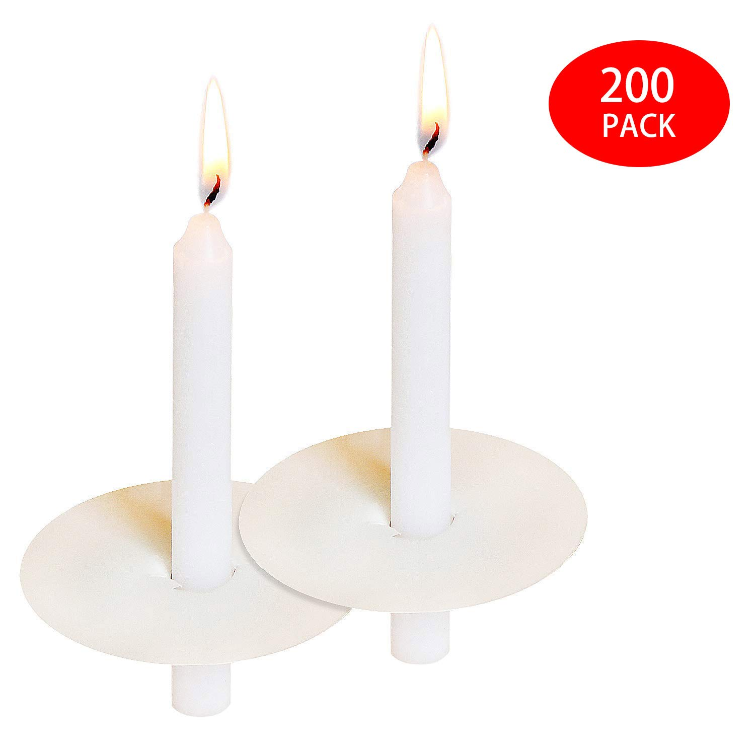 YYHC 200 Church Candles with Drip Protectors for Devotional Candlelight Vigil Service, Box of 200 Candles, Unscented White 5'' H X 1/2 D, No Smoke by YYHC